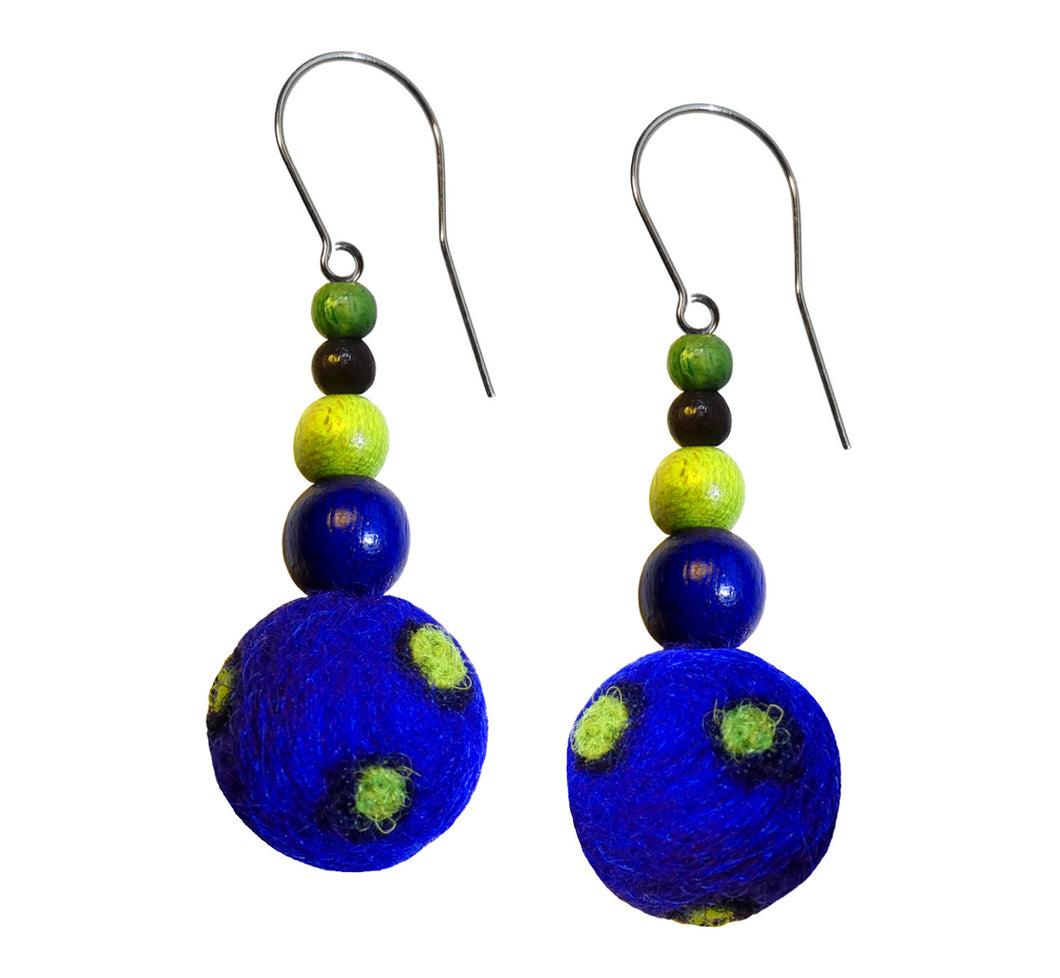 Wool felt ball, wood beads hook earrings, blue with green, length 4 cm 1.57