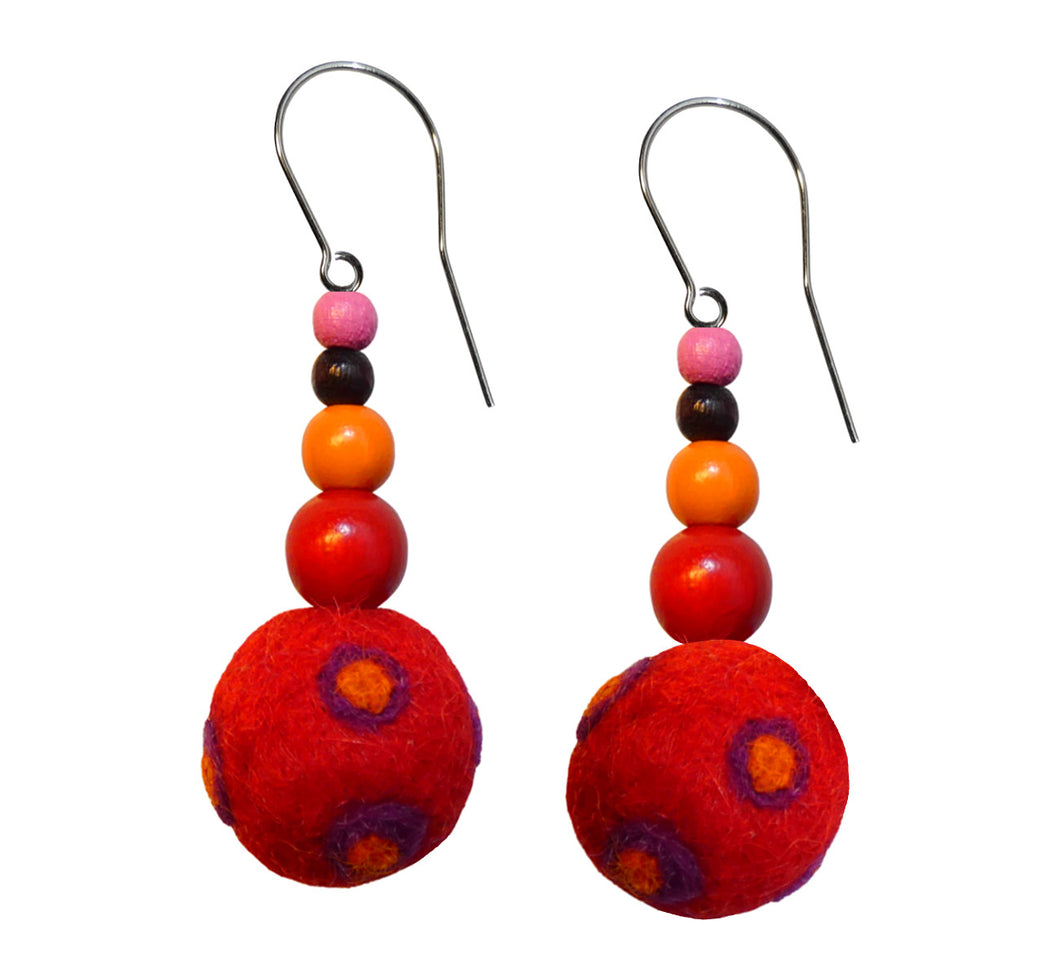 Wool felt ball, wood beads hook earrings, red with orange, length 4 cm 1.57