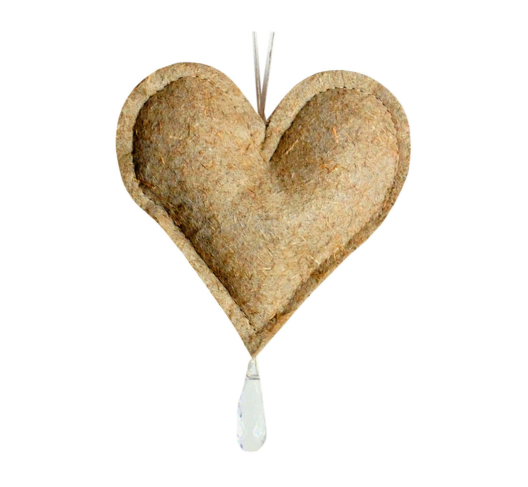 "Decorative stuffed heart with crystal stone, natural flax felt, light brown, 10x8 cm, 3.94x3.15"", handcrafted."