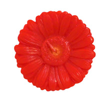 "Load image into Gallery viewer, Red gerbera shaped ornamental flower candle, artisan handmade, height 6 cm 2.36"", diameter 10 cm 3.94"", burn time 20h."