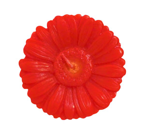 "Red gerbera shaped ornamental flower candle, artisan handmade, height 6 cm 2.36"", diameter 10 cm 3.94"", burn time 20h."