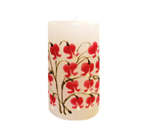 "Hand painted ornamental candle, white with red heart flower, height 12 cm 4.72"", diameter 7 cm 2.76"", burn time 50 hours."