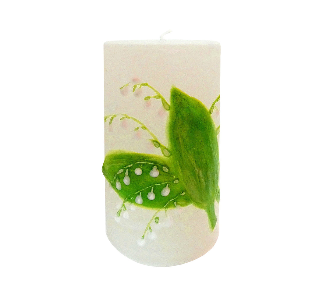"Hand painted ornamental candle, white with lily of the valley, height 12 cm 4.72"", diameter 7 cm 2.76"", burn time 50 hours."