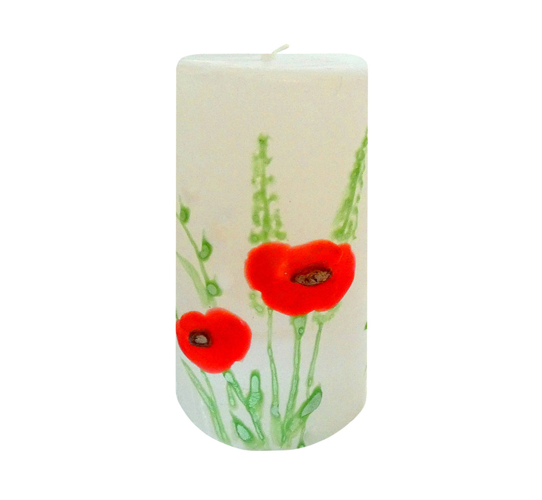 "Hand painted ornamental candle poppy, height 12 cm 4.72"", diameter 7 cm 2.76"", burn time 50 hours."