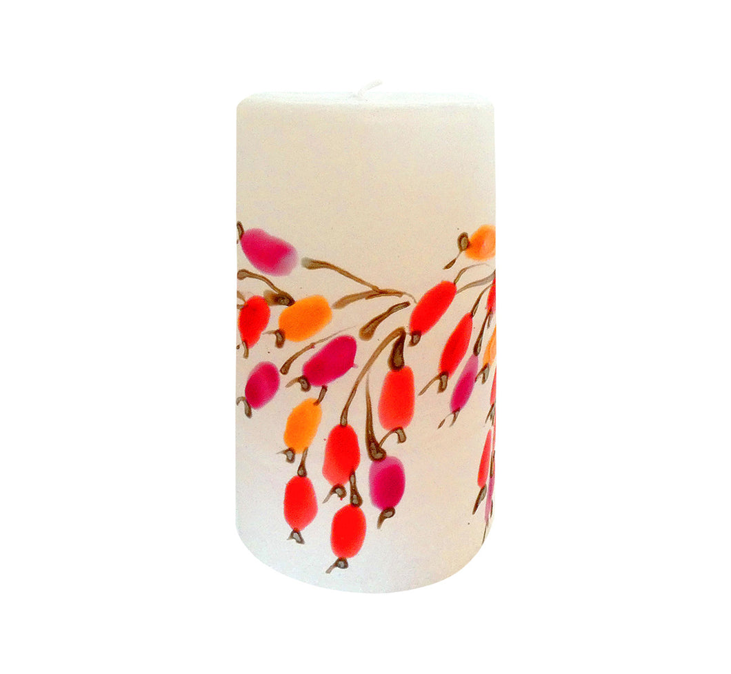 "Hand painted ornamental candle rose hip, height 12 cm 4.72"", diameter 7 cm 2.76"", burn time 50 hours."