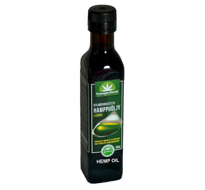 Bottle of organic, cold-pressed and unrefined hemp seed oil, 250 ml, ecologically and ethically produced in Finland.