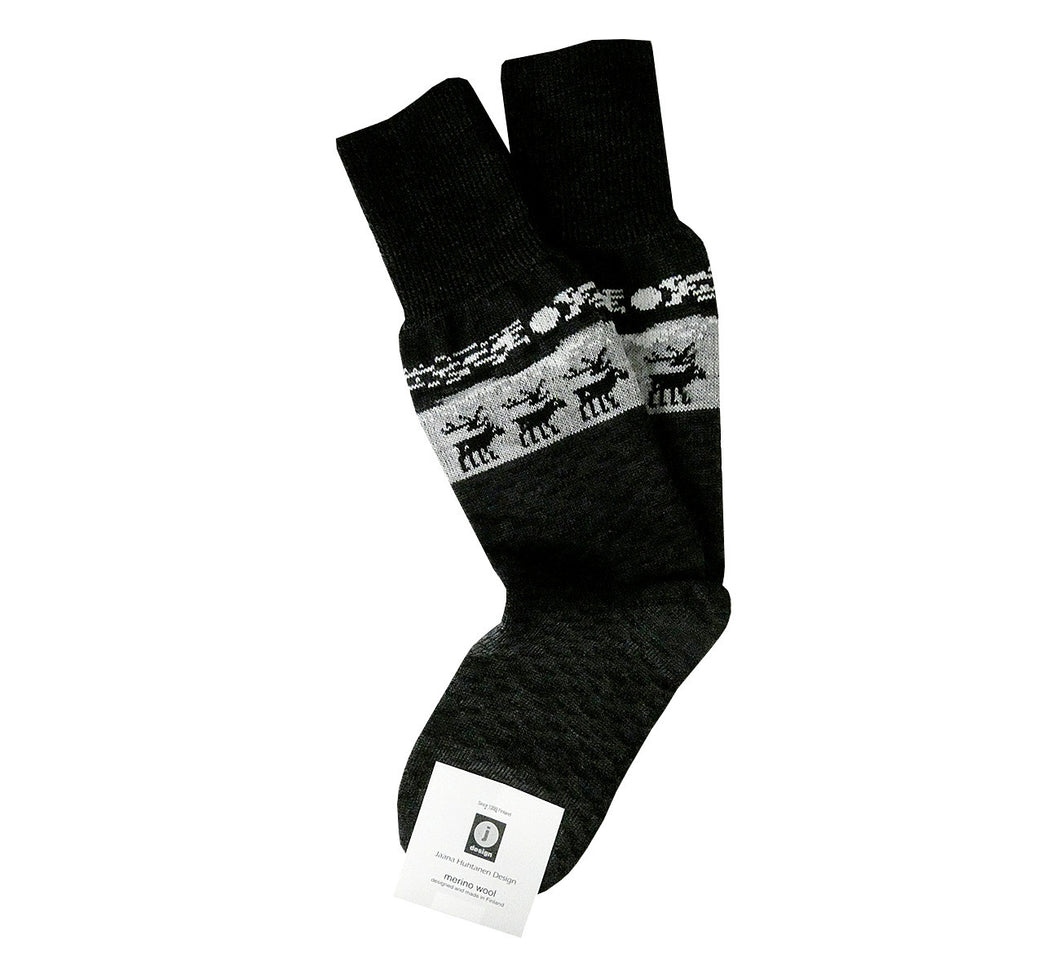 Pair of dark gray with light gray merino wool socks, Lapland reindeer pattern, superwarm, resistant, ethically made in Scandinavia.
