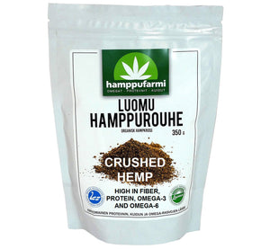 Bag of organic crushed hemp 350 g, made with cold pressing method, rich in protein, from Finland, Scandinavia.