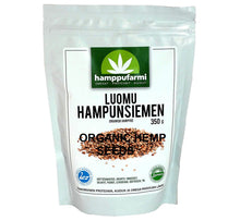Load image into Gallery viewer, Bag of organic hemp seeds 350 g, unprocessed seeds grown in pure nature of Finland, Scandinavia.
