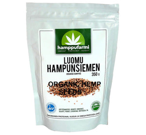 Bag of organic hemp seeds 350 g, unprocessed seeds grown in pure nature of Finland, Scandinavia.