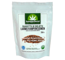 Load image into Gallery viewer, Bag of organic roasted and salted hemp seeds 250 g, delicious nutty flavor, from Finland, Scandinavia.