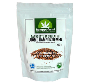 Bag of organic roasted and salted hemp seeds 250 g, delicious nutty flavor, from Finland, Scandinavia.