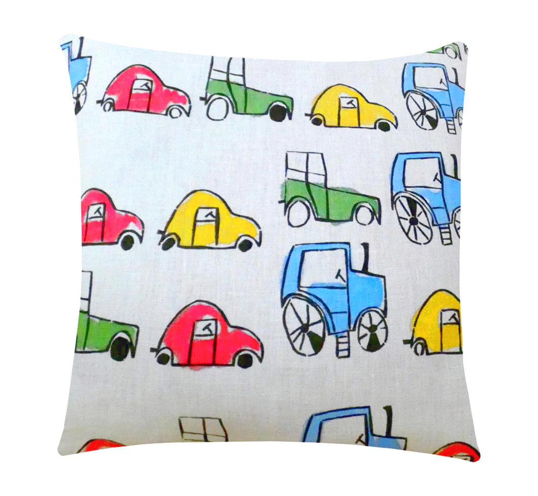 Decorative pillow case, hand printed, colorful cars on white linen fabric, 45 cm, 17.72