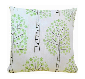 "Decorative pillow case, hand printed birch trees, green black trees on white fabric, 45 cm, 17.72"", artisan handmade."
