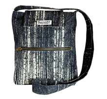 Load image into Gallery viewer, Image nature textile birch forest, handmade satchel with long shoulder strap, 25x28x6 cm.