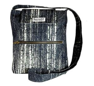 Image nature textile birch forest, handmade satchel with long shoulder strap, 25x28x6 cm.
