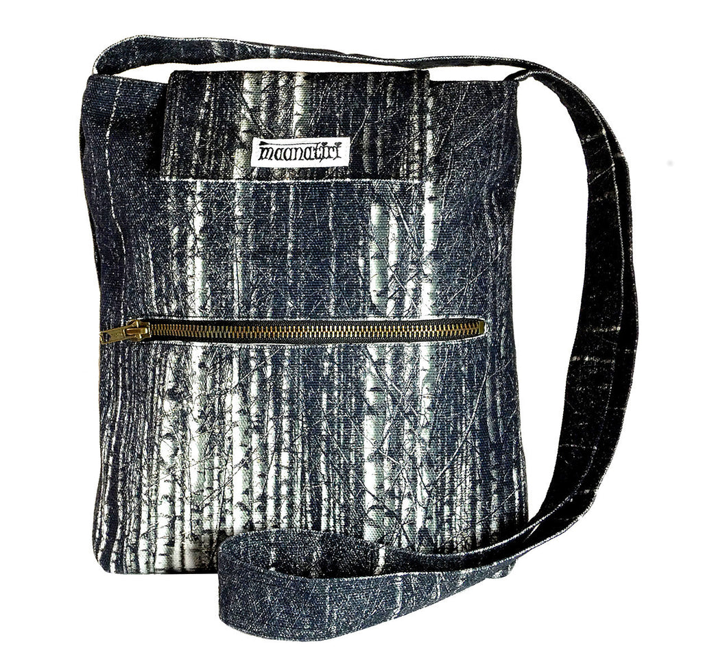 Image nature textile birch forest handmade satchel with long shoulder strap, 25x28x6 cm.