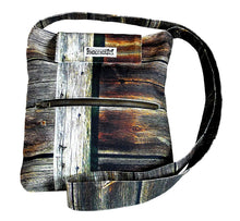 Load image into Gallery viewer, Image nature textile wood wall, handmade satchel with long shoulder strap, 25x28x6 cm.