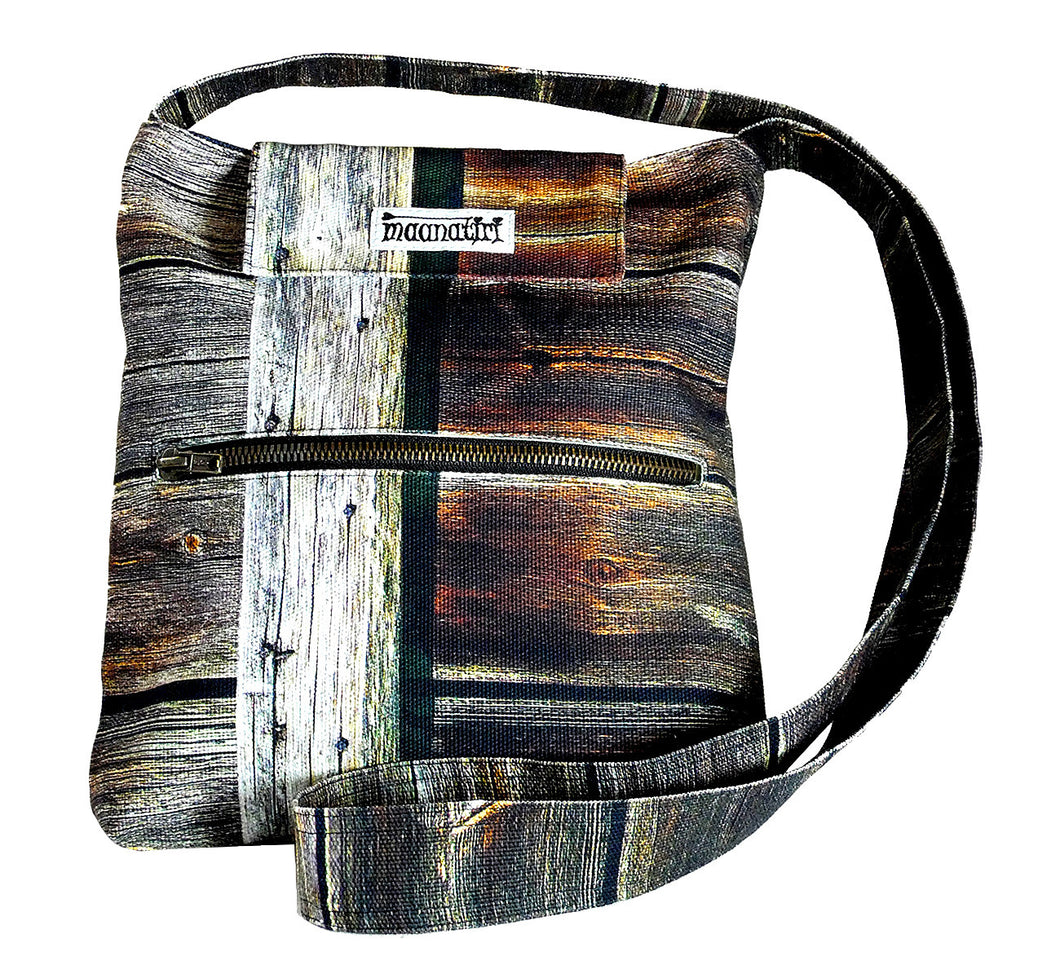 Image nature textile wood wall, handmade satchel with long shoulder strap, 25x28x6 cm.