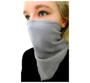 "Woman wearing linen grey scarf face mask , reusable washable handmade, 20x15 cm, 7,87x5,91"", right side."