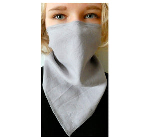 "Woman wearing linen grey scarf face mask , reusable washable handmade, 20x15 cm, 7,87x5,91"", front."