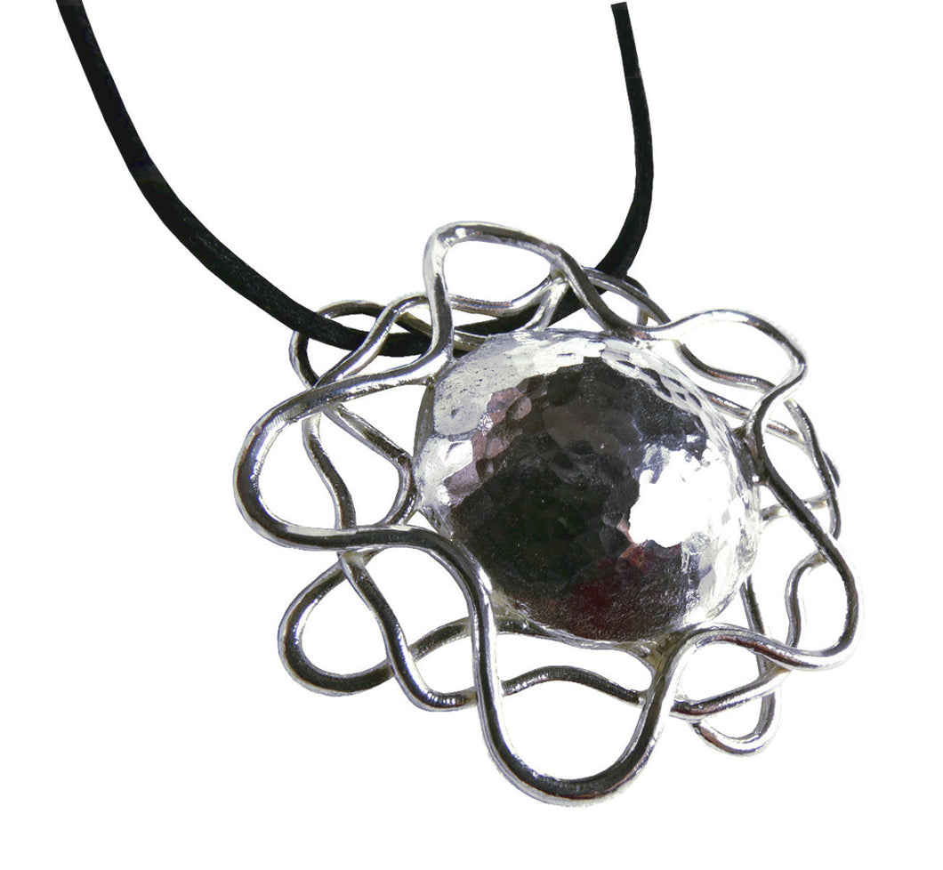 Goldsmith made unique silver midnight sun necklace, 5.0 cm, 1.97