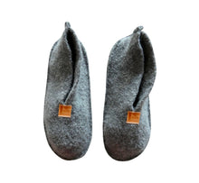 Load image into Gallery viewer, Warm, comfortable and cozy gray slippers, home shoes handmade of felted wool, Nordic reindeer leather sole.