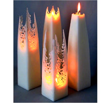 Load image into Gallery viewer, Four white tapered square pillar candles, form a lace-like shape as they melt and creates a magical atmosphere, handmade.