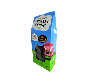 Bag of vegan chocolate fudge 150 g, made from coconut milk and raw cacao powder in Scandinavia, gluten and preservative free.