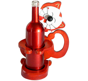 "Wood red smiling cat bottle holder, 30x22 cm, 11.81x8.66"", big white happy face, artisan handmade in Finland."