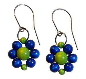 "Wood flower earrings, blue and green wooden beads, flower diameter 4 cm, 1.57"", artisan handmade."