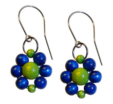 "Load image into Gallery viewer, Wood flower earrings, blue and green wooden beads, flower diameter 4 cm, 1.57"", artisan handmade."