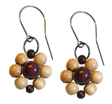 "Load image into Gallery viewer, Wood flower earrings, light and dark brown wooden beads, flower diameter 4 cm, 1.57"", artisan handmade."