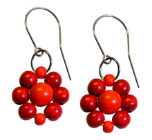 "Load image into Gallery viewer, Wood flower earrings, red and orange wooden beads, flower diameter 4 cm, 1.57"", artisan handmade."