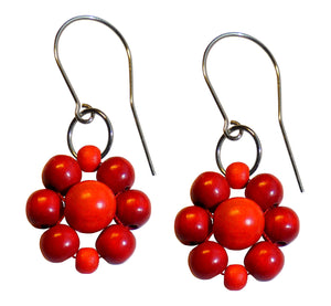 "Wood flower earrings, red and orange wooden beads, flower diameter 4 cm, 1.57"", artisan handmade."