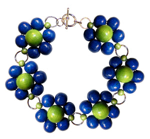 "Wood flower bracelet handmade, blue and green wooden beads, silver nickel free hooks, 19.5 cm, 7,68"", flower diameter 2.4 cm, 0.95""."