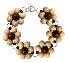 "Load image into Gallery viewer, Wood flower bracelet cuff, brown wooden beads, handmade, 19.5 cm, 7,68"", flower diameter 2.4 cm, 0.95""."