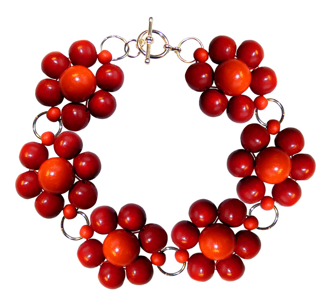 "Wood flower bracelet cuff, red wooden beads, handmade, 19.5 cm, 7,68"", flower diameter 2.4 cm, 0.95""."