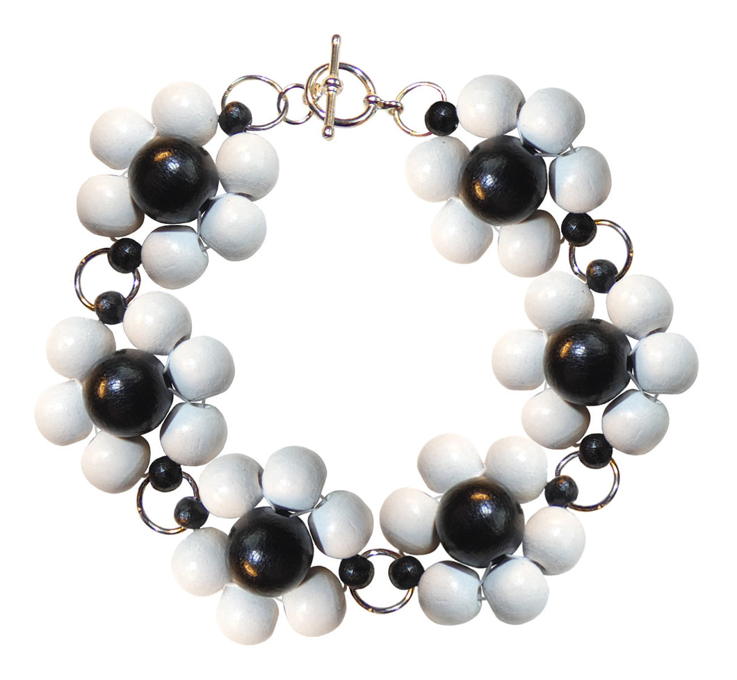 "Wood flower bracelet handmade, white and black wooden beads, silver nickel free hooks, 19.5 cm, 7,68"", flower diameter 2.4 cm, 0.95""."