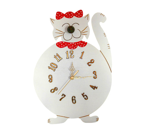 Wooden smiling cute cat wall clock, white with golden colour numbers and black pointers, artisan handmade, Scandinavian