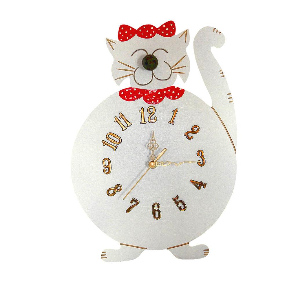"Wooden smiling happy cat wall clock, white, 30x22 cm, 11.81x8.66"", artisan handmade."