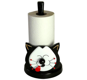 Kitchen paper holder, smiling cat, black with big white happy face, artisan handmade, scandinavian.