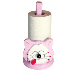 Kitchen paper holder, smiling cat, pink with big white happy face, artisan handmade, scandinavian.