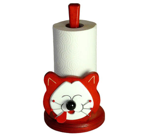 Kitchen paper holder, smiling cat, red with big white happy face, artisan handmade, scandinavian.