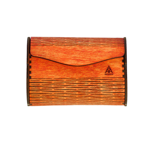 Wallet made of laser cut plywood, red-brown, width 10 cm, non toxic wax treated, artisan handmade eco friendly, scandinavian