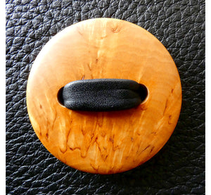 Wooden brown curly birch button in the middle of unique black elk leather handbag, diameter 5_cm, handmade in