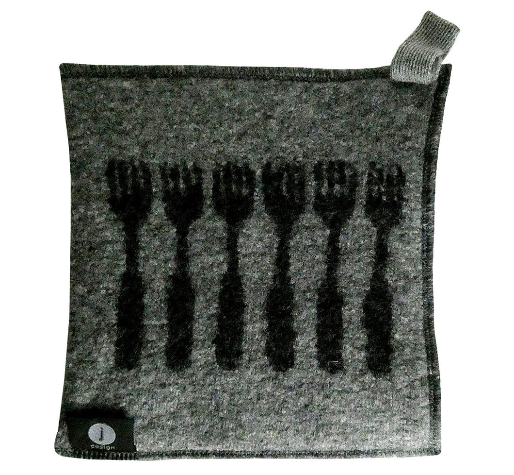 "100% wool felt potholder, hot pad, grey with black forks, 22x23 cm, 8.67x9.06"", artisan handmade, soft and thick."