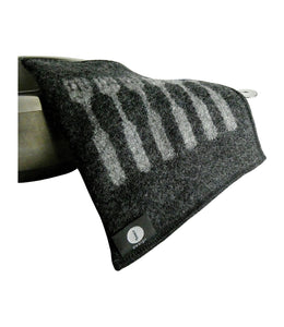 "100 % wool felt potholder, black with six grey forks, 22 x 23 cm, 8.67 x 9.06"", with cooking pan, handmade in Scandinavia."