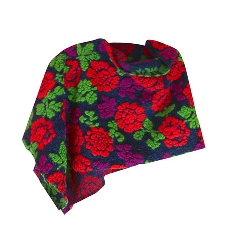 Woolen modern handmade red and violet flower embossed short cloak poncho.
