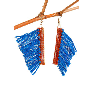 Blue wool tassel hook earrings with copper wire edge, height 4 cm, 1.57